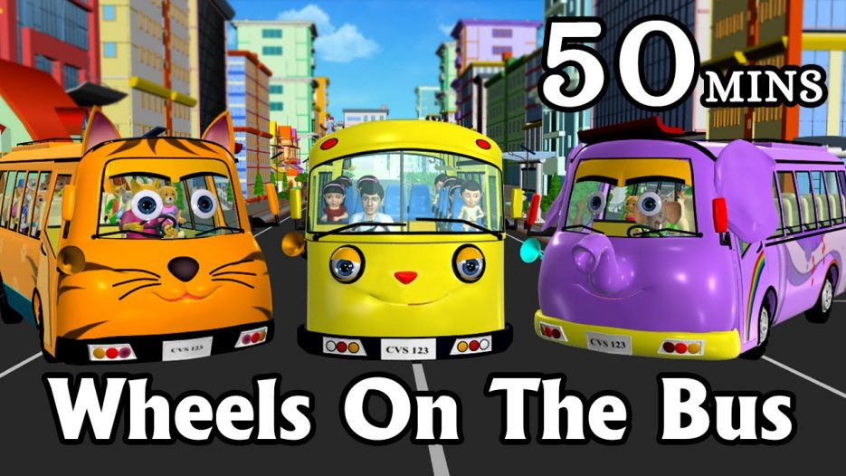 Wheels On The Bus Go Round And Round — 3D Animation Kids' Songs | Nursery Rhymes for Children