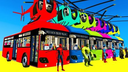 LEARN COLORS Bus Helicopter w Spiderman for Children — Cars Superheroes for Kids