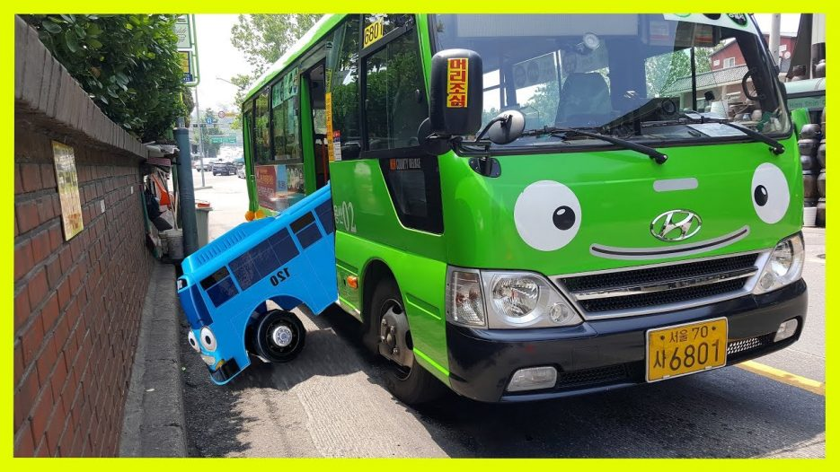 Toy Bus in Real Life. Little Bus  rides on the Big Bus