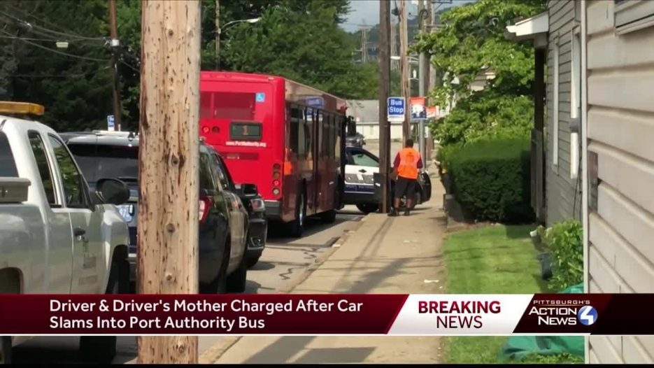 Vehicle slams into Port Authority bus