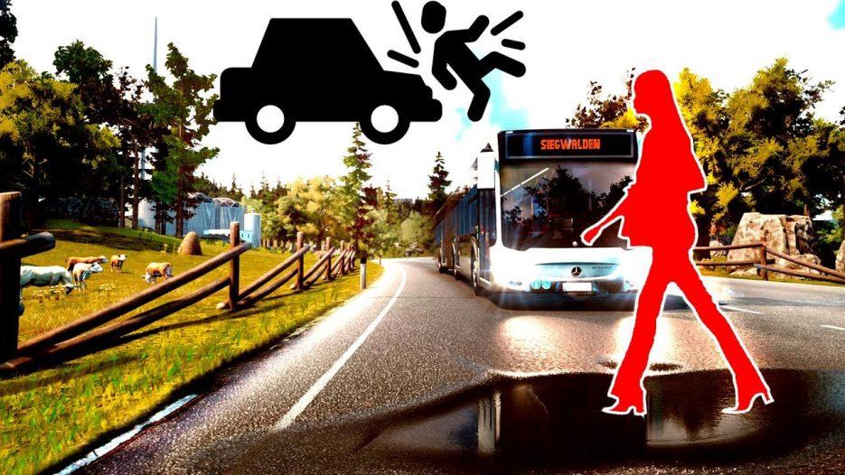 Первый маршрут и наезд на пешехода! Симулятор Автобуса! — Bus Simulator 18