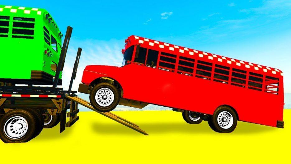 Мультик Про Цветные Машинки Автобусы и Автовоз Для Детей Учим Цвета с Веселыми Песенками Для Малышей