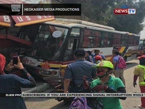 QRT: Pampasaherong bus, bumangga sa waiting shed sa EDSA Buendia