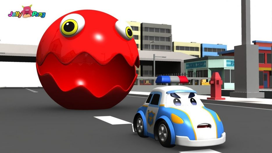 Learning Color city Vehicle School Bus Fire truck cute Police car and PACMAN Play for kids car toys