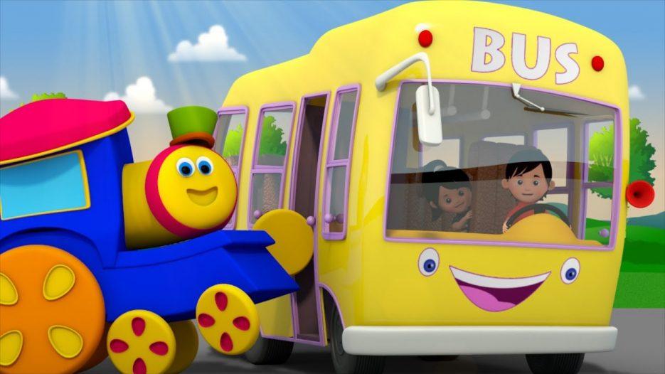 Yellow Wheels On The Bus   Bob The Train Nursery Rhymes   Videos For Babies   Kindergarten Songs