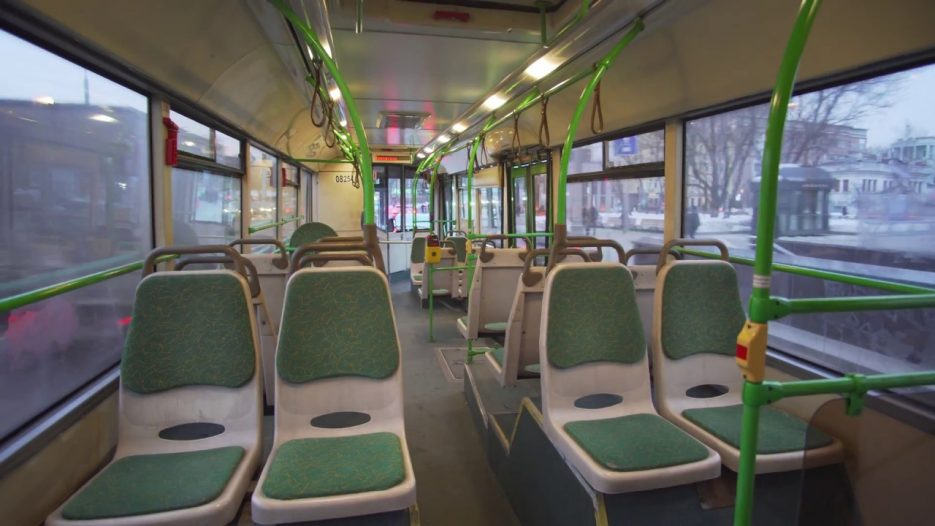 Russia, Moscow, ride with bus 869 from Zoopark to Mayakovskaya metro station