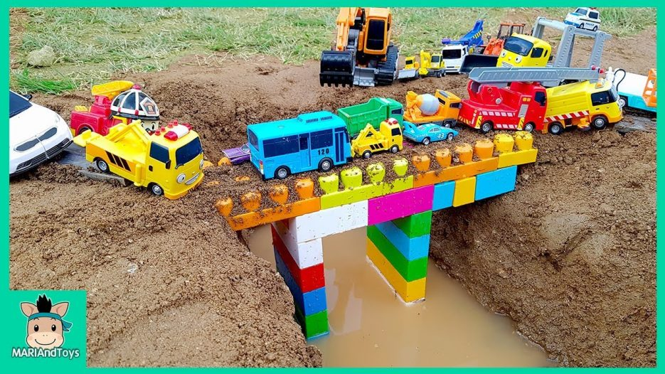 Tayo Bus Car toy videos for kids   Excavator, Truck, Mega Bloks, Nursery Rhymes Song   MariAndToys