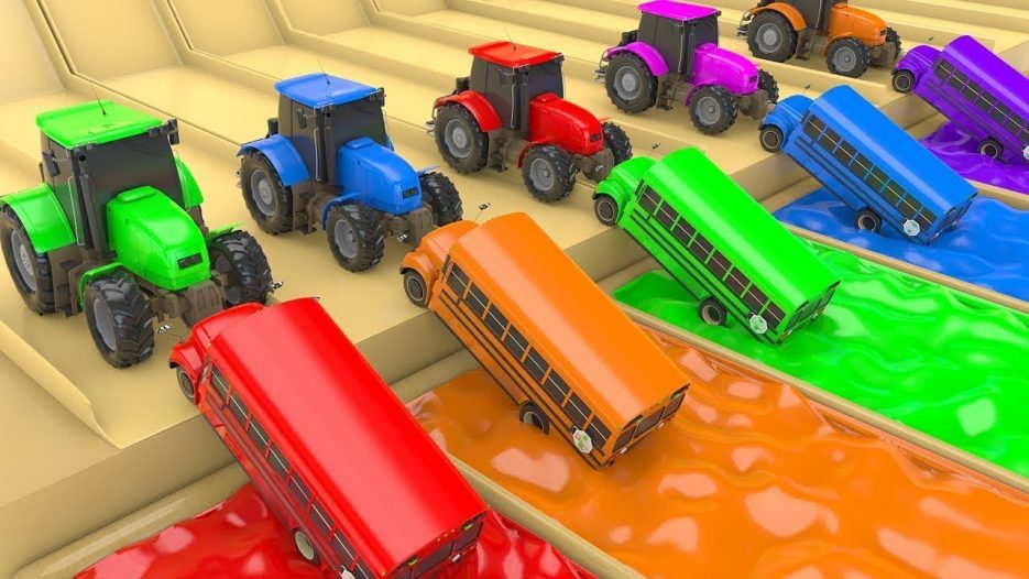 Colors for Children to Learn with School Bus & Tractor Toys #w   Colours Magic Liquids & Water Slide