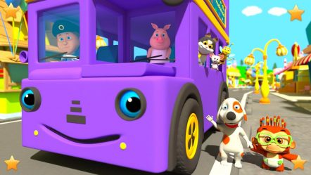 Purple Wheels On The Bus | Kindergarten Nursery Rhymes & Songs for Kids