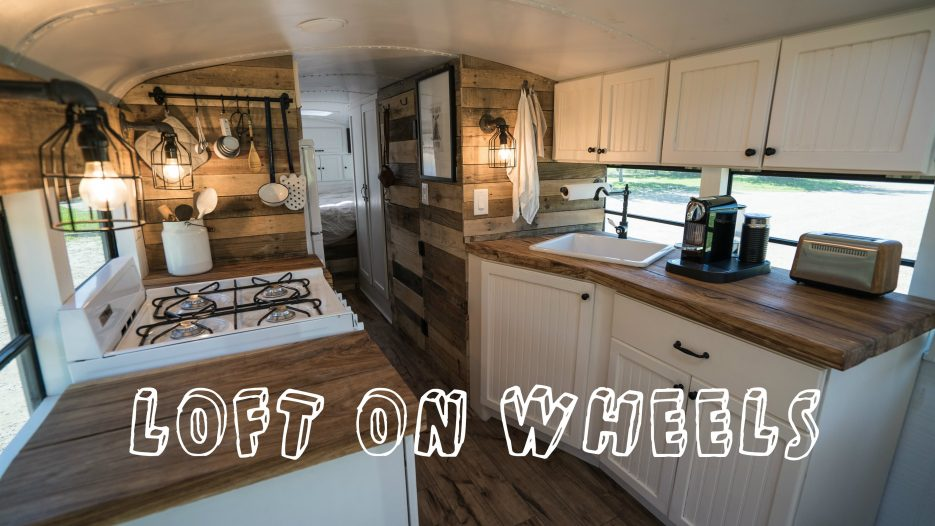 School Bus turned into Loft on Wheels — Tiny House