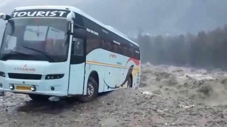 Heavy rainfall in Manali creates havoc, gulps up volvo bus.