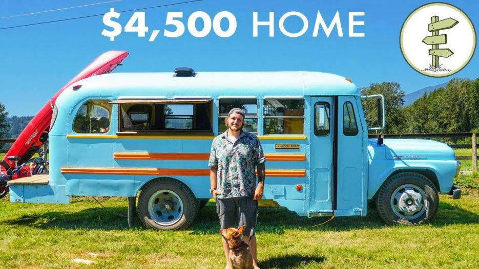 Young Man Builds Stunning School Bus Tiny House for Only $4,500 — Debt Free Mobile Home
