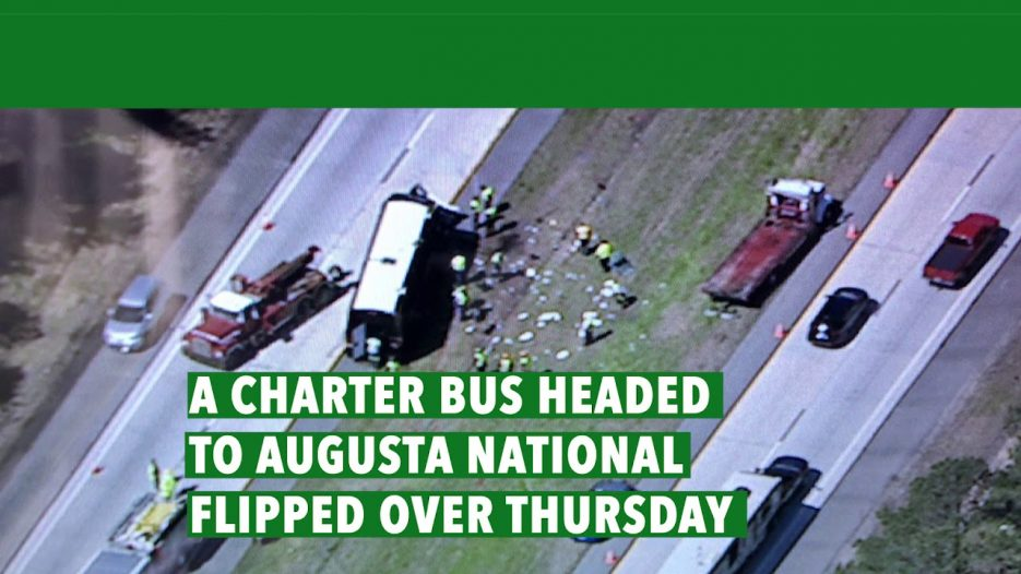 Masters tour bus flips, driver charged with DUI