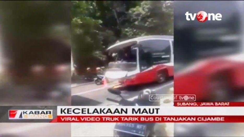 Detik-detik Tali Derek Truk Putus, Bus Mundur di Tanjakan dan Tewaskan Warga