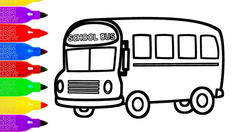 Learn Colors GLITTER TOY SCHOOL BUS Coloring Page for Kids Learning Video How to Coloring