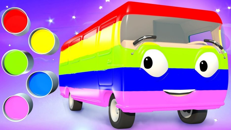 Learn Colors with Bus Paint | Panda Bo Nursery Rhymes & Finger Family Kids Song