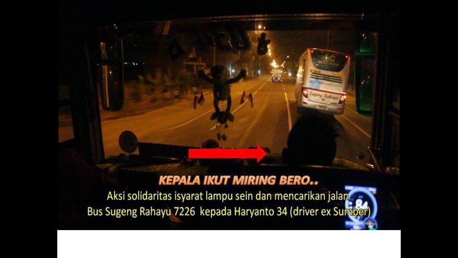 Patut dicontoh! Duel sportif  Bus Sugeng Rahayu feat Po Haryanto