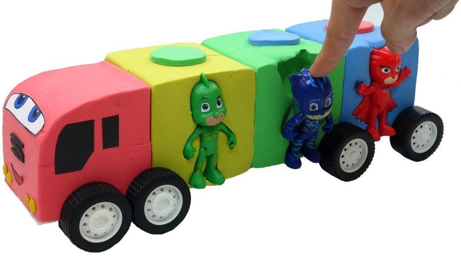 Pj Masks Bus Cars w Learn Colors Mad Mattr Nursery Rhymes Songs for Babies