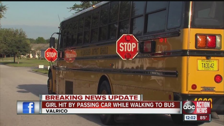 Child hit at School Bus Stop
